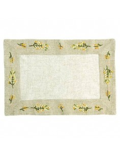 "Tischset ""Mimose"", handgestickt,  30 x 45 cm"