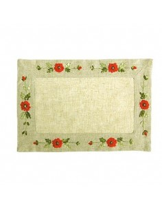 """Placemat """"Corn Poppy"""", hand embroidered, 30 x 45 cm"""