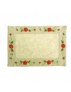"""Tischset """"Mohnblume"""", handgestickt, 30 x 45 cm"""