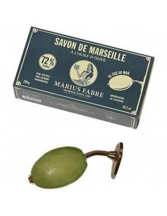 Französischer Seifenhalter aus Messing mit Olivenölseife von Marius Fabre