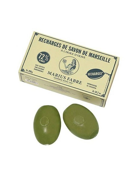 Ovale Olivenölseife für Seifenhalter, Marius Fabre, 2 Ersatzseifen à 290 g