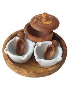Gewürz - Set aus Olivenholz mit Porzellan für Salz, Pfeffer und Kräuter