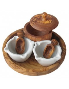 Spice - Set from olive wood for salt, pepper, herbs
