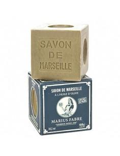 Cube Savon de Marseille, huile d'olive, Nature, Marius Fabre, vert, 400 g