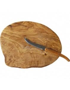 Plateau en bois d'olivier avec couteau à fromage