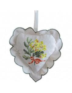 Sachet de lavande, cœur avec dentelle, mimosa