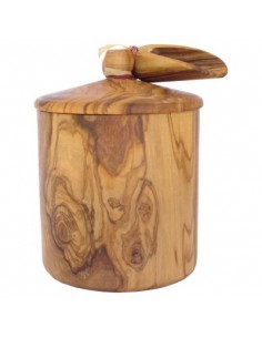 Olive wood box with small shovel