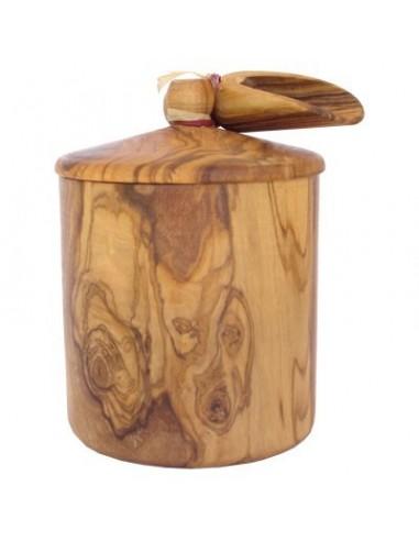 Boîte en bois d'olivier avec petite pelle