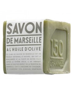 Cube of green Marseilles Soap, Compagnie de Provence, 150 g, Olive