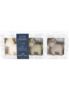 Coffret cadeau Troupeau au lait d'ânesse, Anes & Sens, 3 x 150 g