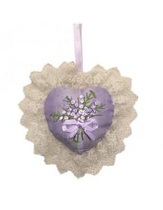 Cœur sachet de lavande ruban dentelle satin, violet