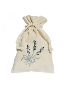 Säckchen mit Stickerei, Lavendel