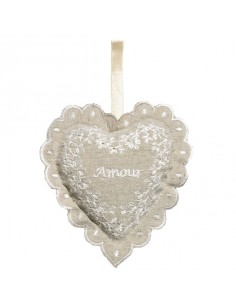 Lavender heart with embroidery, Amour