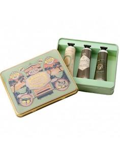 Metallbox Handcreme, Panier des Sens, Honig, Mandel, Olive, 3 x 30 ml