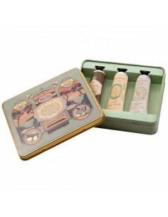 Metallbox Handcreme, Panier des Sens, Honig, Mandel, Traube, 3 x 30 ml