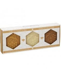 Honey Soaps Gift Box, Plantes et Parfums de Provence, Linden, Propolis, Beeswax, 3 x 100 g