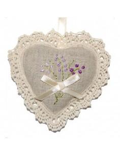 Lavender sachet, Heart with lace, Lavender