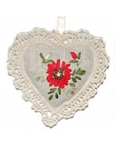 Lavendelsäckchen, Herz mit Spitze, Mohnblume